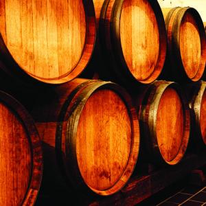 Looking down aisle of oak wine barrels in winery cellar